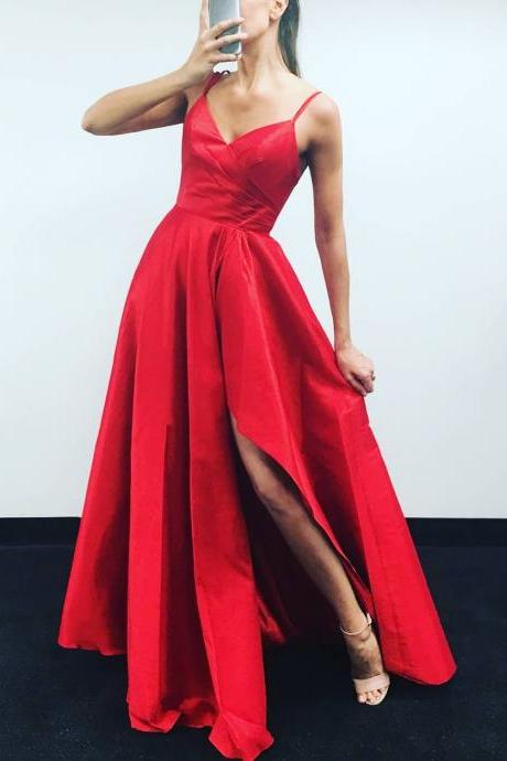 Spaghetti Straps A-line Long Red Satin Prom Dress Floor Length Women Evening Dress 2019