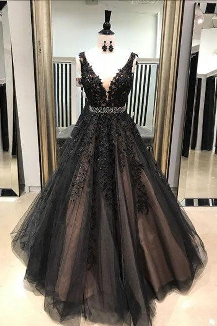 Deep V Neck A-line Tulle Prom Dress Lace Appliques Women Evening Dress 2019