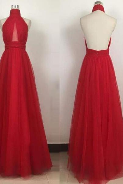 Sexy Open Back Long Red Tulle Prom Dress Halter Neck Women pleated Evening Dress