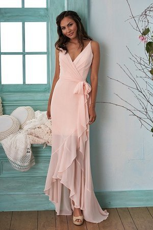 V Neck Sheath Long Pink Cjhiffon Prom Dress Floor Length Women Evening Dress