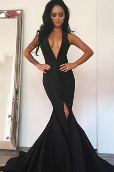 Deep V Neck Mermaid Black Satin Evening Dress Sleeveless Women Party Dress
