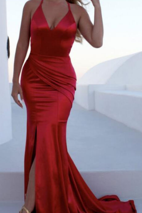 Mermaid Long Red Satin Prom Dress Straps Women Evening Dress 2019