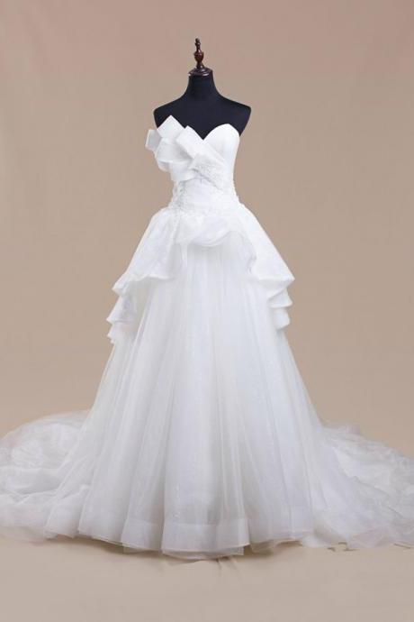 Strapless A-line White Tulle Wedding Dess lace Appliques floor Length Bridal Gowns 2019
