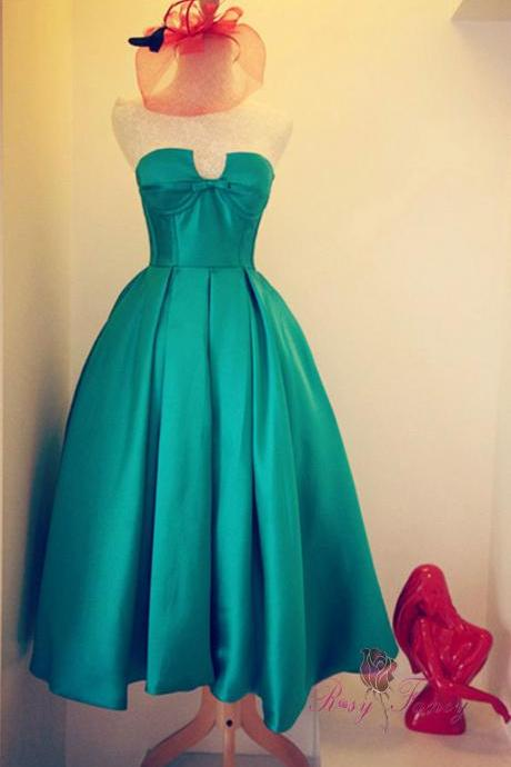 Strapless Green Satin Prom Dress Mid-calf Length Women party Dress 2019