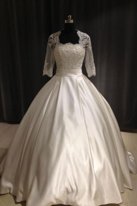 Half Sleeves Ball Gown Satin Wedding Dress Lace Floor Length Women Bridal gowns