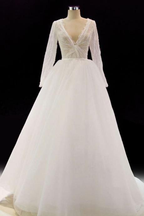 V Neck A-line White Tulle Wedding Dress Long Sleeves Women Bridal Gowns 2019