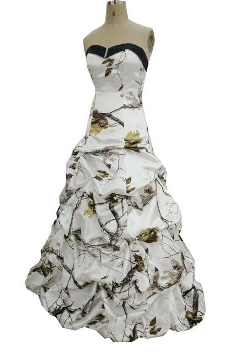 Strapless Ruffle Plant Printed Wedding Dress corset Floor Length Women Bridal Gowns