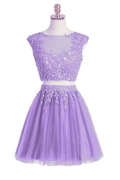 2 Pieces Above Knee Mini Tulle Homecoming Dress Lace Appliques Beaded Party Dress