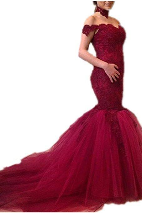 Mermaid Tulle Prom Dress Off the Shoulder Lace Appliques women Evening Dress 2019