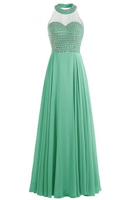 Halter Neck Long Chiffon Prom Dress Beaded Floor Length Women Evening Dress 2019
