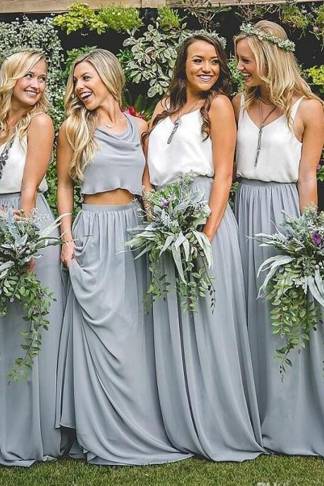 Long Chiffon bridesmaid Dress Scoop Neck Women Bridesmaid Dress 2019