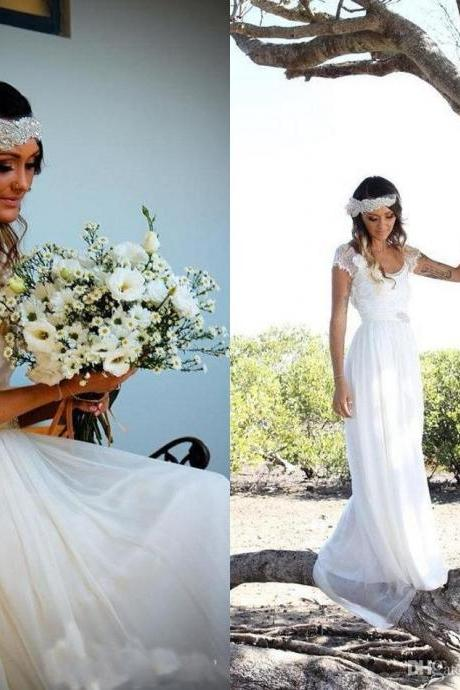 V Neck A-line Long Chiffon Wedding Dress Cap sleeves Women Bridal Gowns