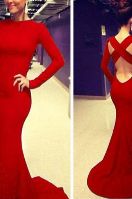 Long Sleeves Mermaid Red Satin Prom Dress Floor Length Women Evening Dress 2019