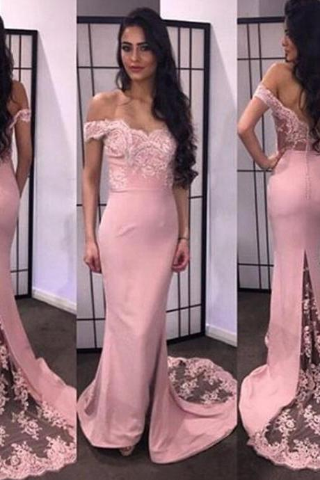 Off the Shoulder Mermaid Long Satin Prom Dress Lace Appliques Women Evening Dress 2019