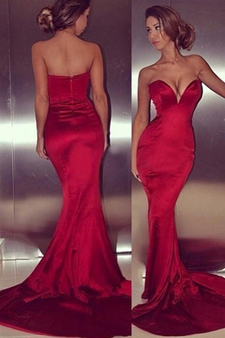 Strapless Mermaid Long Satin Prom Dress Floor Length Women Evening Dress 2019