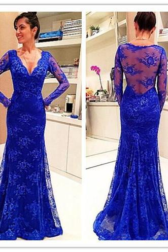 Long Sleeves Sheath Blue Lace Women Evening Dress 2019