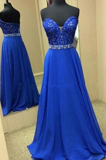 Royal Blue Satin Prom Dress Strapless Lace Beaded women Evening Dress 2019