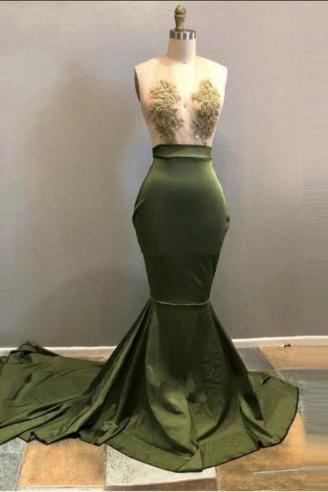 Halter Neck Green Satin Prom Dress Lace Appliques Long Women Evening Dress 2019
