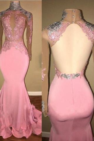 Open Back Mermaid Long Pink Satin Prom Dress High Neck Women Evening Dress 2019