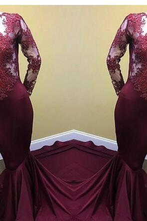 Long Sleeves Mermaid Satin Prom Dress Scoop neck lace Appliques women Evening Dress 2019