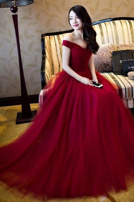 Off the Shoulder Burgundy Tulle Prom Dress, floor length women evening dress