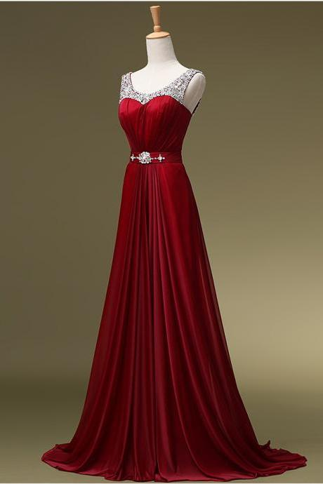 Dark Red Long Chiffon Prom Dresses Scoop Neck Floor Length Crystals Beaded Party Dresses 2016