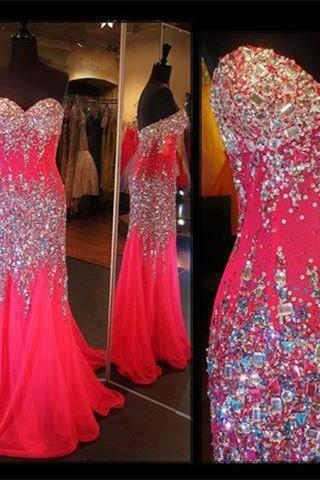 Charming Long Chiffon Prom Dresses Sweetheart Neck Crystals beaded Party Dresses Floor Length Custom Made 2016