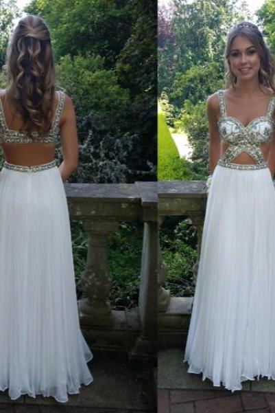 Long Chiffon White Prom Dresses Spaghetti Straps Crystals Floor length Party Dresses Floor length Women Dresses