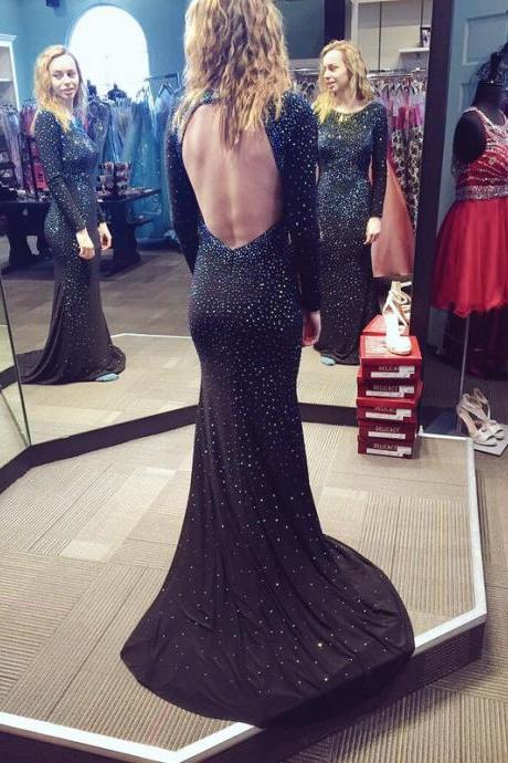 Backless Long Mermaid Chiffon Prom Dresses Scoop neck Long Sleeves Beaded Party Dresses 2016
