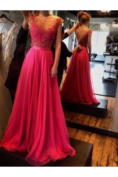 Scoop Neck Long Chiffon Bridal Gowns Lace Appliques Floor Length Wedding Dresses Custom Made 2016