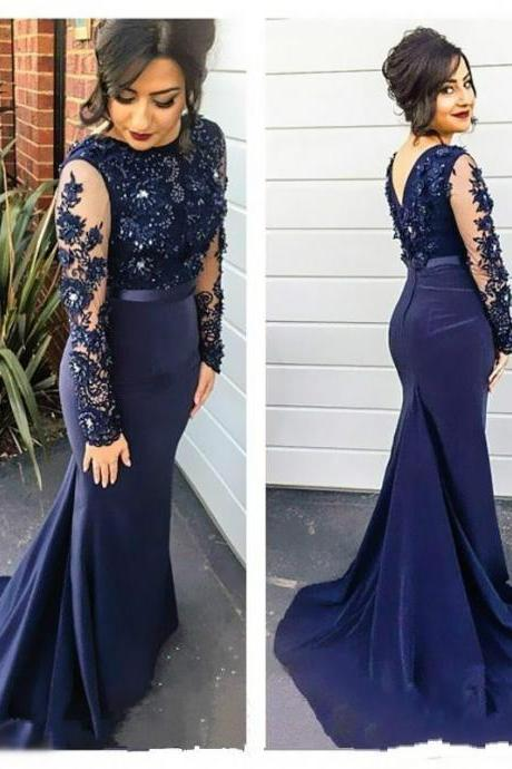 Sexy Mermaid Chiffon Prom Dresses Scoop neck Long Sleeves Lace Appliques Party Dresses 2016