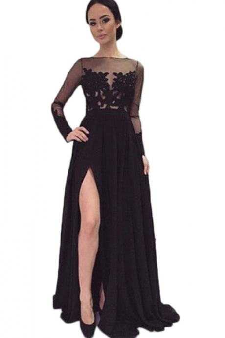 Black Chiffon Prom Dresses, Long Chiffon Dresses, Lace Women Prom Dresses 2017