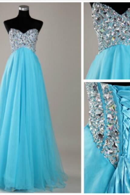 Blue Tulle Prom Dresses, Crystals Women Prom Dresses, Long Tulle Dresses 2017