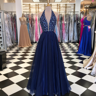 Navy Blue Long Tulle Prom Dress Halter Neck beaded Floor Length Women Dress