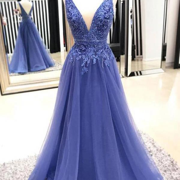 V Neck long Tulle Blue Prom Dress Lace Appliques Women Dress