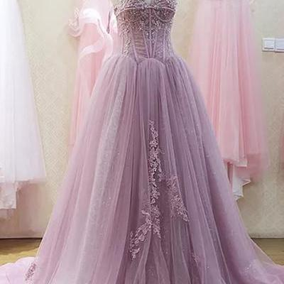 Light Purple Tulle Prom Dress Strapless Lace Appliques Women Dress