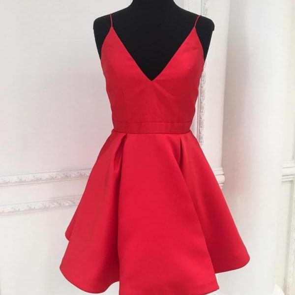 Spaghetti Straps A-line Short Red Satin Prom Dress