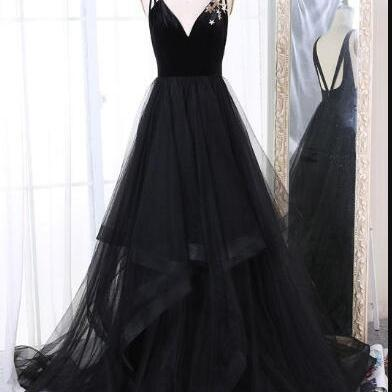 V Neck Black Tulle Prom Dress Spaghetti straps Open Back Sexy Women Evening Dress