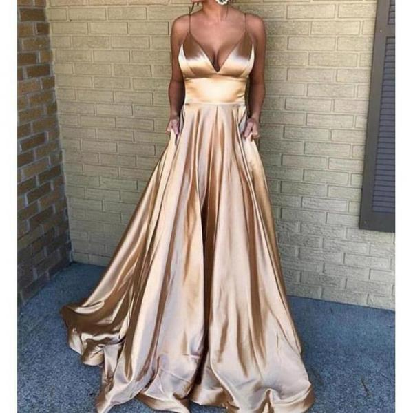 Golden Satin Prom Dress Spaghetti Straps Pleated Women Evening Dress