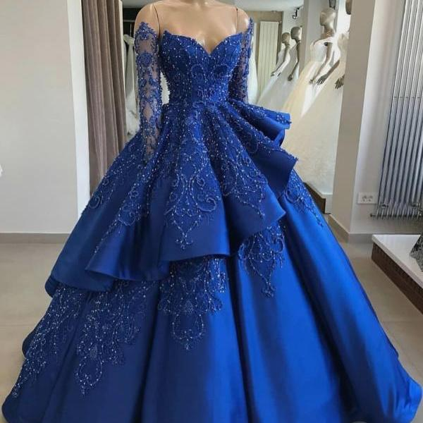 Ball Gown Royal Blue Satin Prom Dress Embroidery Beaded Floor Length Women Evening Dress 2019