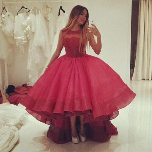 High Low Red Organza Red Wedding Dress Scoop Neck Lace Appliques Women Bridal Gowns