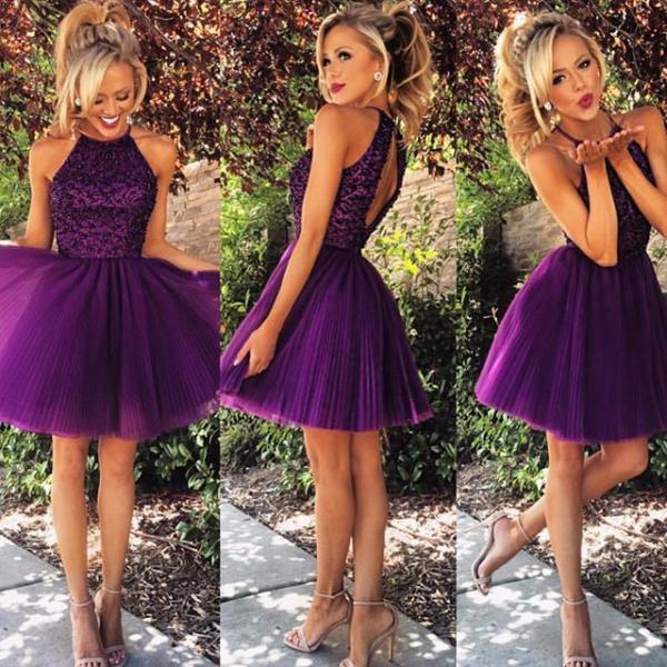 Dark Purple Homecoming Dresses 2016 Short Tulle Beaded Party Dresses Custom Made Crystal Beaded Women Dresses