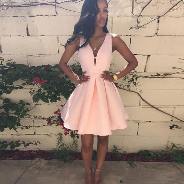 V-neck Short  Satin Prom  Dresses Light Pink Women Dresses