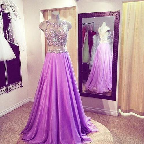 Scoop Neck Long Chiffon Prom Dresses Crystals Beaded Party Dresses Floor Length Women Dresses 2016