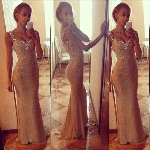 Mermaid Sequined Lace Prom Dresses Crystals Beaded Floor Length Party Dresses 2016 Custom Made Women Dresses
