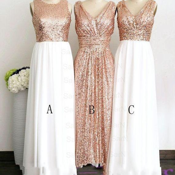 Long Chiffon Sequined Lace and Chiffon Prom Dresses V-neck Floor Length Party Dresses 2016