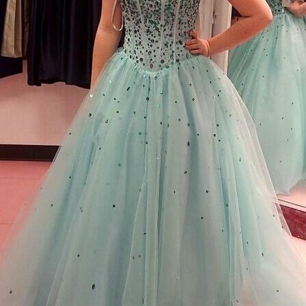Long Tulle Prom Dresses Spaghetti Strap Crystals Floor Length Party Dresses Custom Made 2016