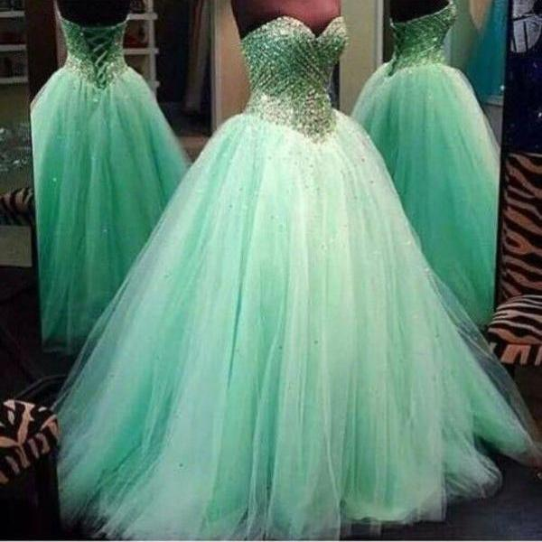 Sweetheart Neck Long Tulle Prom Dresses 2016 Crystal Beaded Party Dresses Floor Length Women Dresses