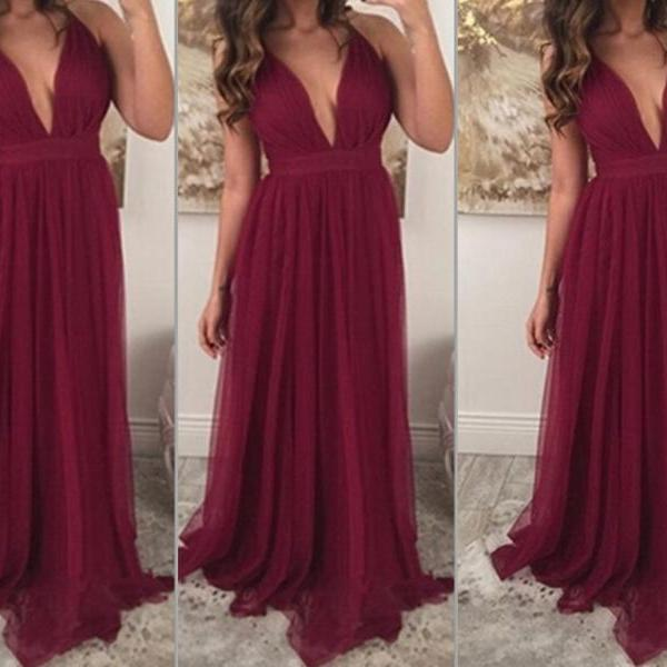 Deep V-neck Long Chiffon Prom Dresses Charming Party Dresses Floor Length Party Dresses 2016